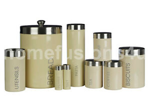 CREAM-LIBERTY-ENAMEL-TEA-COFFEE-SUGAR-BREAD-BISCUIT-PASTA-STORAGE-CANISTERS-JARS