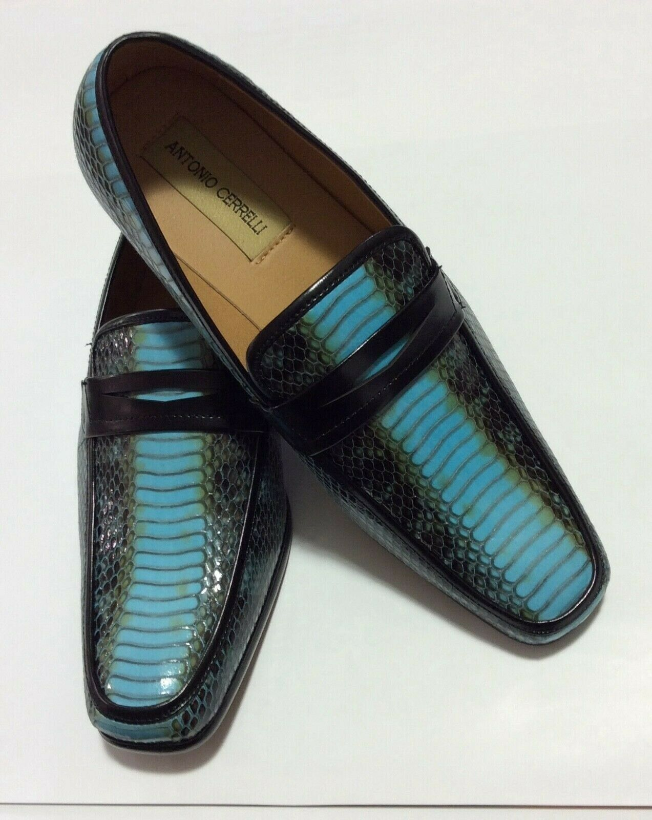 Mens Lt.bluee Elegant Exotic Snake Look Loafers shoes Antonio Cerrelli 6494 NEW