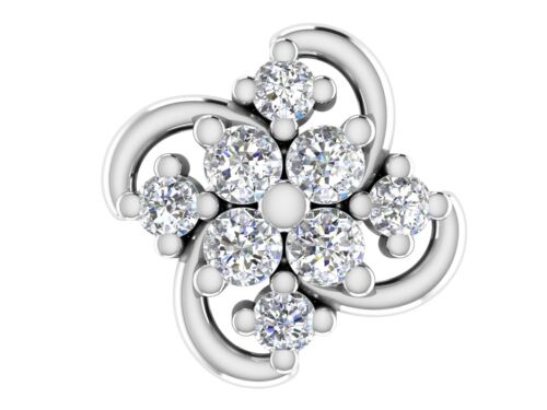 Details about  /0.08ct Certified Real Diamond Nose pin 14k white Solid Gold Nose Pierced Jewelry