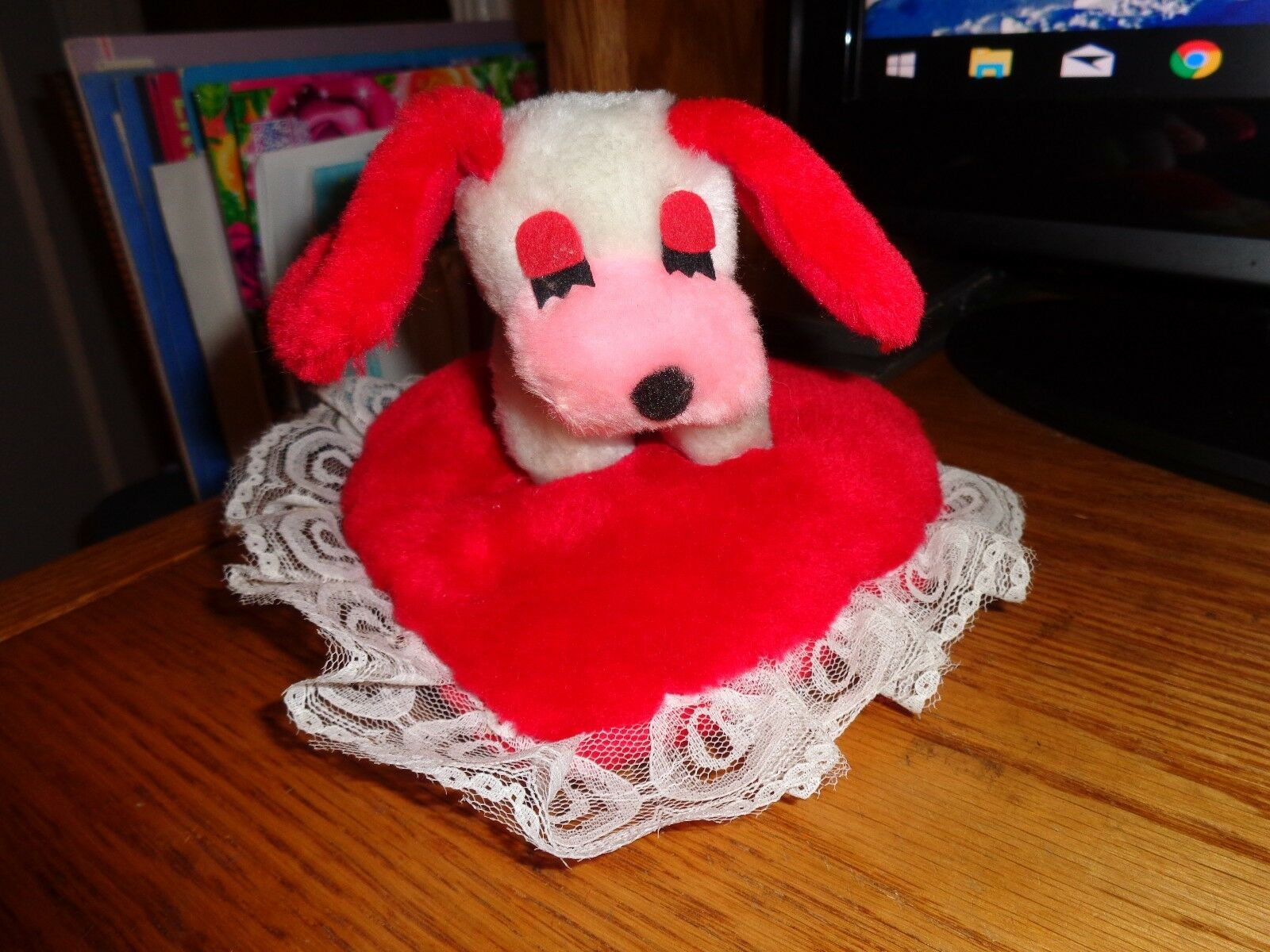 Vintage 1980 Wallace Berrie Asleep Puppy Dog ROT Ears on ROT Heart Plush Pillow