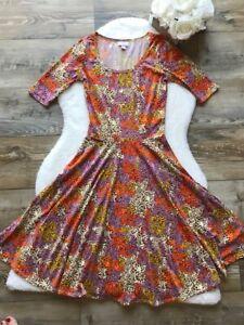 LuLaRoe-Nicole-Sz-XS-Women-039-s-Multi-color-Dress-Stretch-Floral-Print-Scoop-Neck