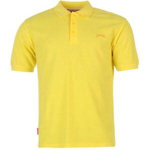 Mens plain yellow slazenger short sleeve golf tennis polo for Yellow golf polo shirts