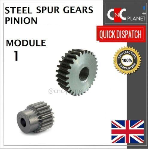 MODULE 1 15mm TOOTH FACE WIDTH EN8 STEEL SPUR GEAR PINION CNC PLASMA ROUTER UK