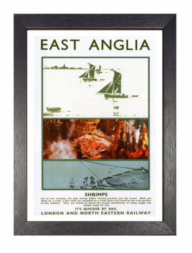 East Anglia Shrimping Poster Railway Vintage Beautiful Amazing Old Advert Photo