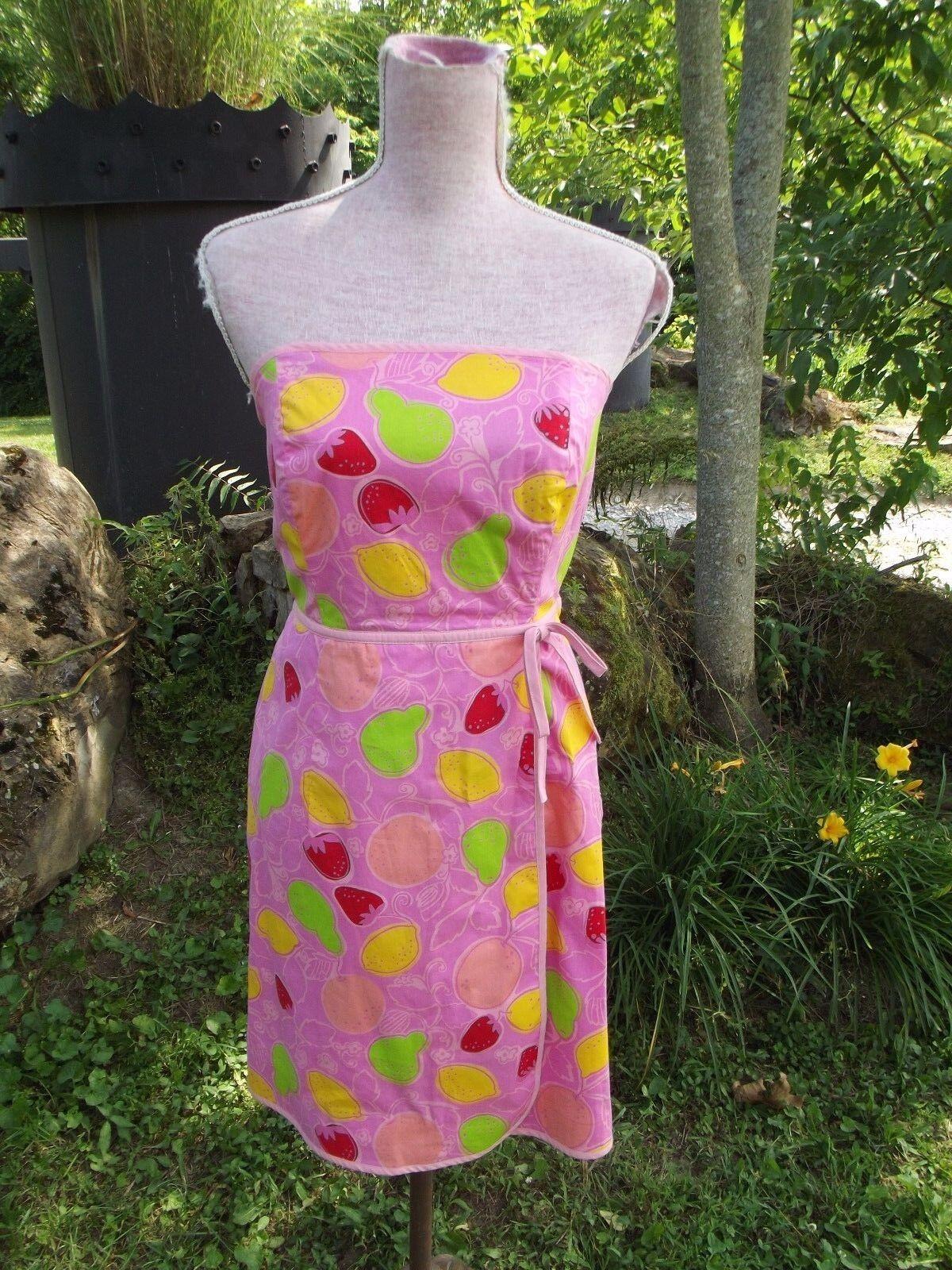 LILLY PULITZER Sz 10 Pink Marzipan Fruits Print Dress Strapless Cotton PRISTINE
