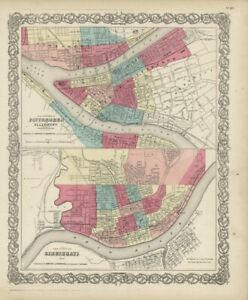 "1861 Colton's  ""Pittsburgh & Cincinnati""""-original,"