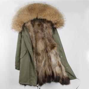 Senora-invierno-waschbarpelz-chaqueta-autentico-mapache-Pelz-cuello-capucha-outdoor-Parka