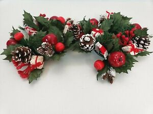 2 Vintage Christmas Candle Ring Surrounds Holly Apple ornaments Pine Cones