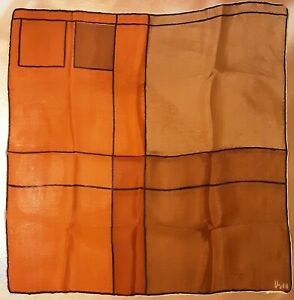 1940-039-s-Orange-amp-Brown-Geometric-Silk-Vera-Neumann-scarf-16-x-16