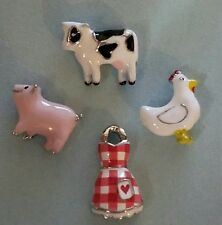 ORIGAMI OWL COW PIG CHICKEN GINGHAM APRON CHARM SET