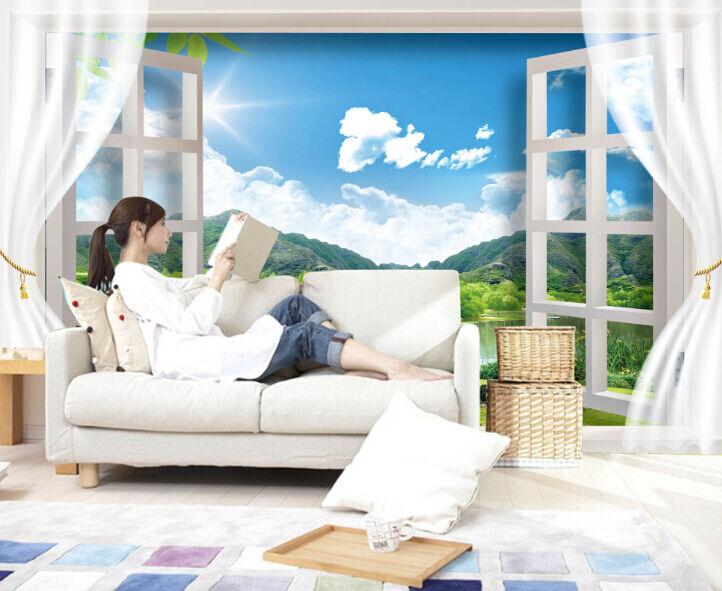 3D Fensteransicht 86077 Fototapeten Wandbild Fototapete BildTapete Familie