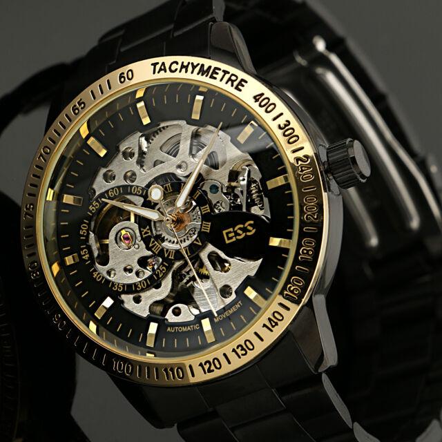 Classic Men's Gold Dial Skeleton Black Mechanical Sport Army Wrist Watch+Box