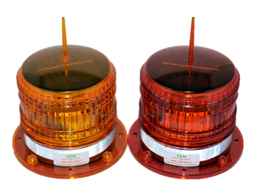 S8LS 2NM AMBER IP67 SOLAR LED STEADY-ON Marine Dock Barge Safety Beacon Light