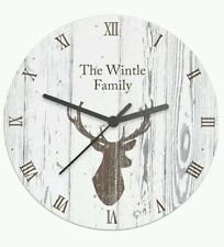 Personalised Large Wooden Kitchen Clock Stag Head Design Wedding & New Home Gift