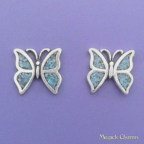 925 Sterling Silver Turquoise BUTTERFLY EARRINGS Post Stud se641