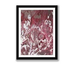 Abstract-acrylic-Print-of-painting-In-7-034-x-5-034-Red-white-unique-gift-ID-1386