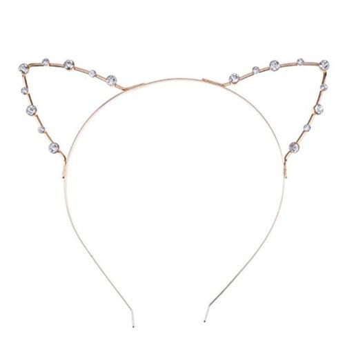 Women/'s Cat Ears Headband Hairband Cosplay Crystal Alloy Hair Hoop Accessories