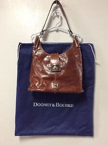 Dooney-Bourke-Purse-Handbag-Leather-Brown-Reptile-Embossed-With-Dust-Bag-H19