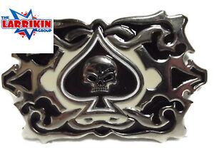 New-Awesome-Large-Belt-Buckle-Black-Cream-Ace-Of-Spades-With-Skull-Inset