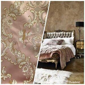 110-Wide-SALE-Designer-Brocade-Jacquard-Fabric-Antique-Pink-Gold-Damask