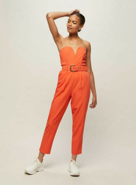 New In Miss Selfridge Bandeau Belted Jumpsuit Size 10