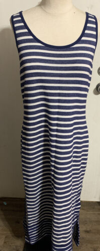 Tommy Bahama Womens large blue and white stripped