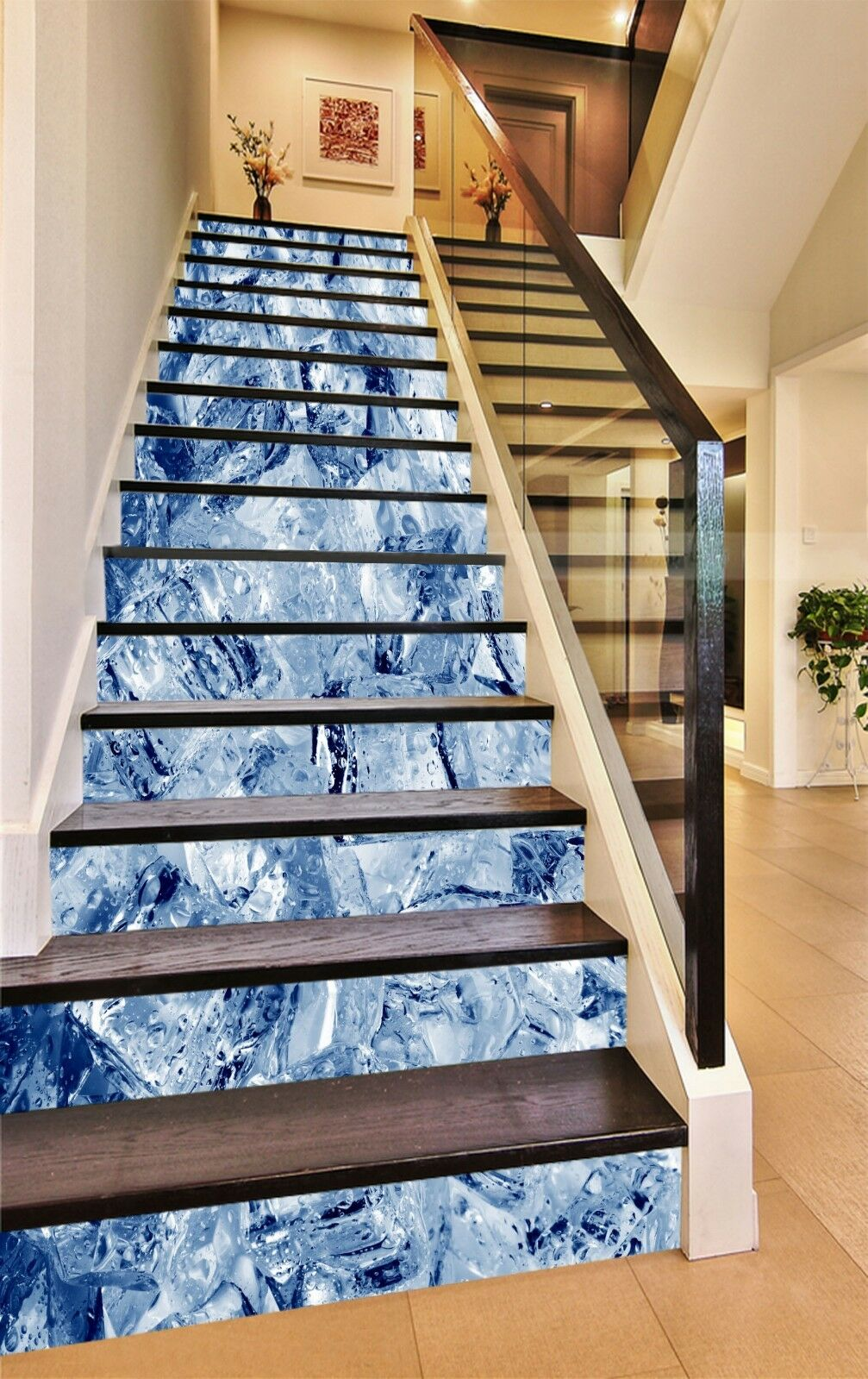 3D Ice Cubes Adorn Stair Risers Decoration Photo Mural Vinyl Decal Wallpaper US