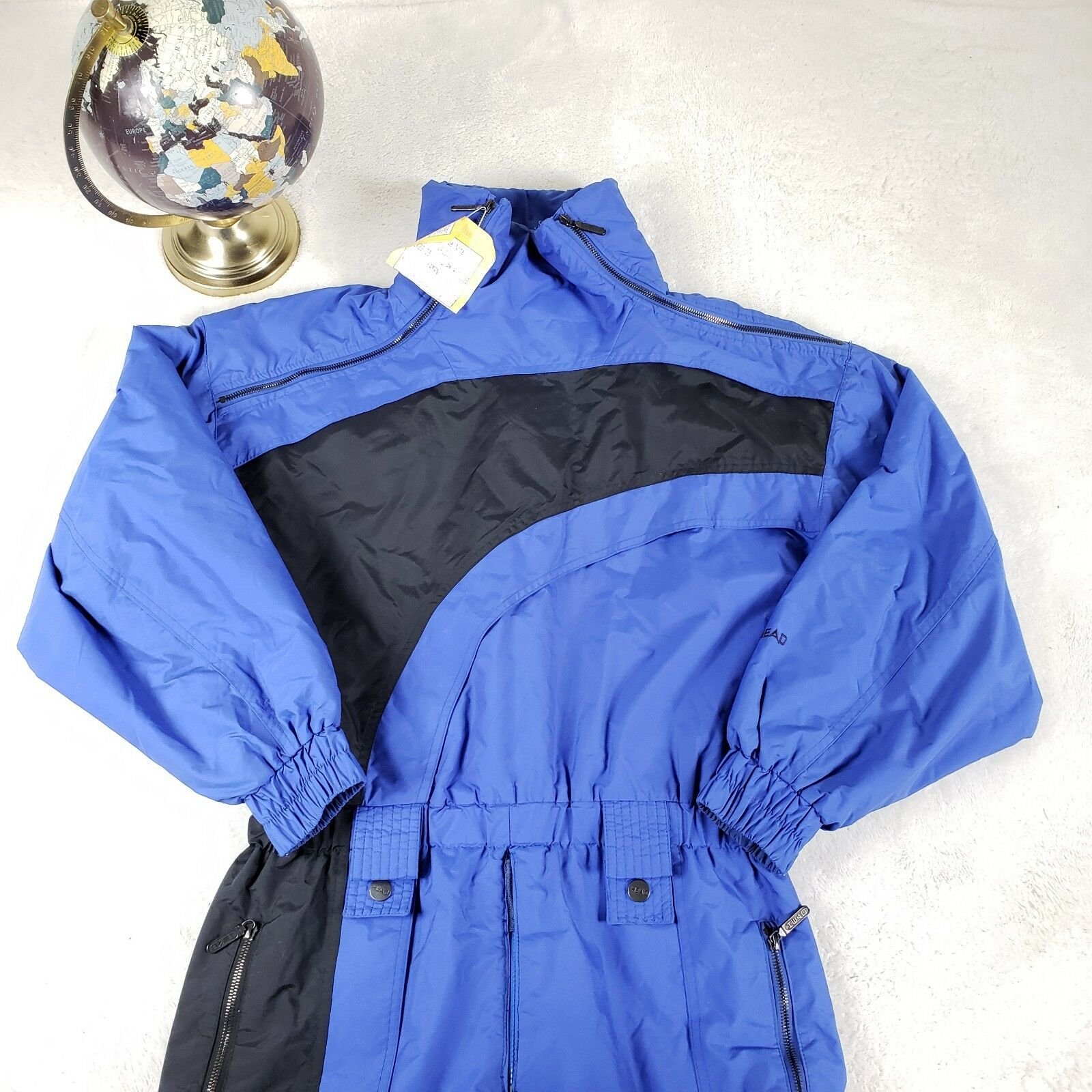 VTG 80s  HEAD One piece Ski Snow Suit Bib O lls bluee Sz Medium  free delivery and returns