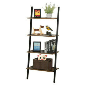 4-Tier-Leaning-Rack-Wall-Ladder-Book-Shelf-Bookcase-Storage-Display-Multipurpose