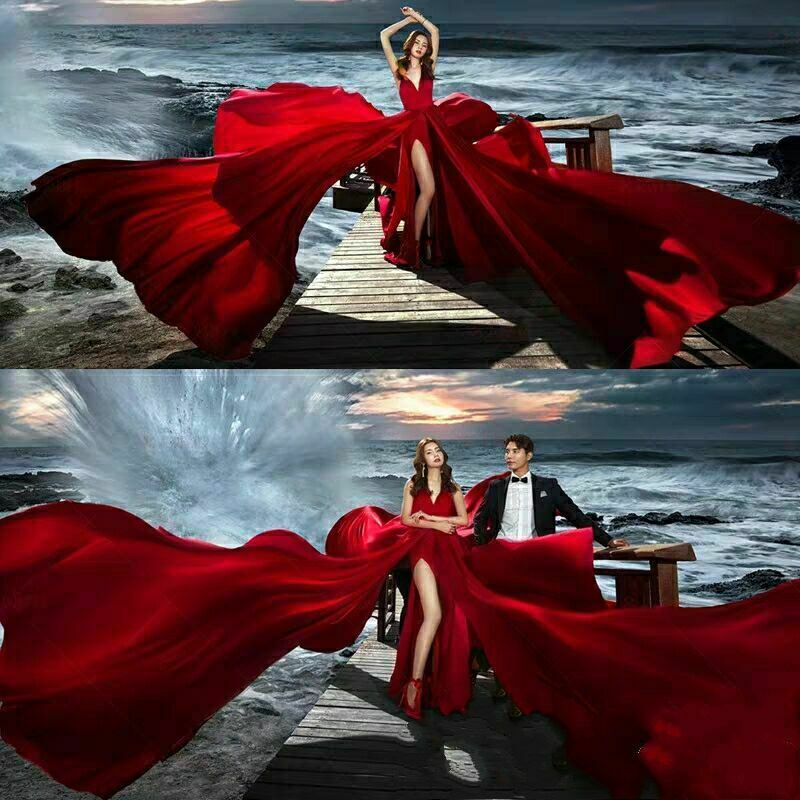 Red Spaghetti Split Train Evening Dresses Prom Pageant Wedding Photography Gown