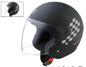 Image Is Loading OFFER Helmet Jet Black Visor Motorcycle Scooter Vespa
