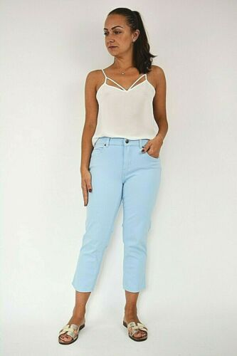 New Womens Light Blue Denim Stretchy Cropped Skinny Fit Jean Trouser Size 8-16
