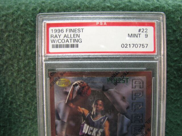 1996 Finest #22  Ray Allen Basketball Card  PSA Mint 9  GORGEOUS !
