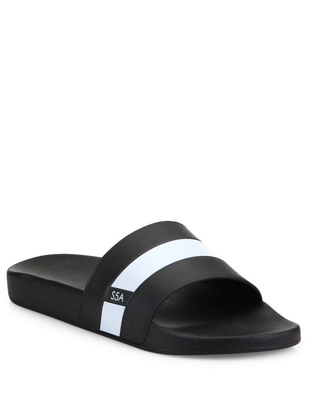 Saks  Fifth Avenue COLLECTion Strap Slides Made in   comodamente