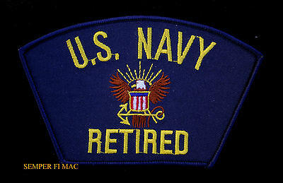 US NAVY RETIRED HAT PATCH EAGLE RETIREMENT GIFT USS OFFICER CHIEF SAILOR WOW!