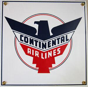 Continental Airlines Vintage Aviation  Porcelain Metal Sign