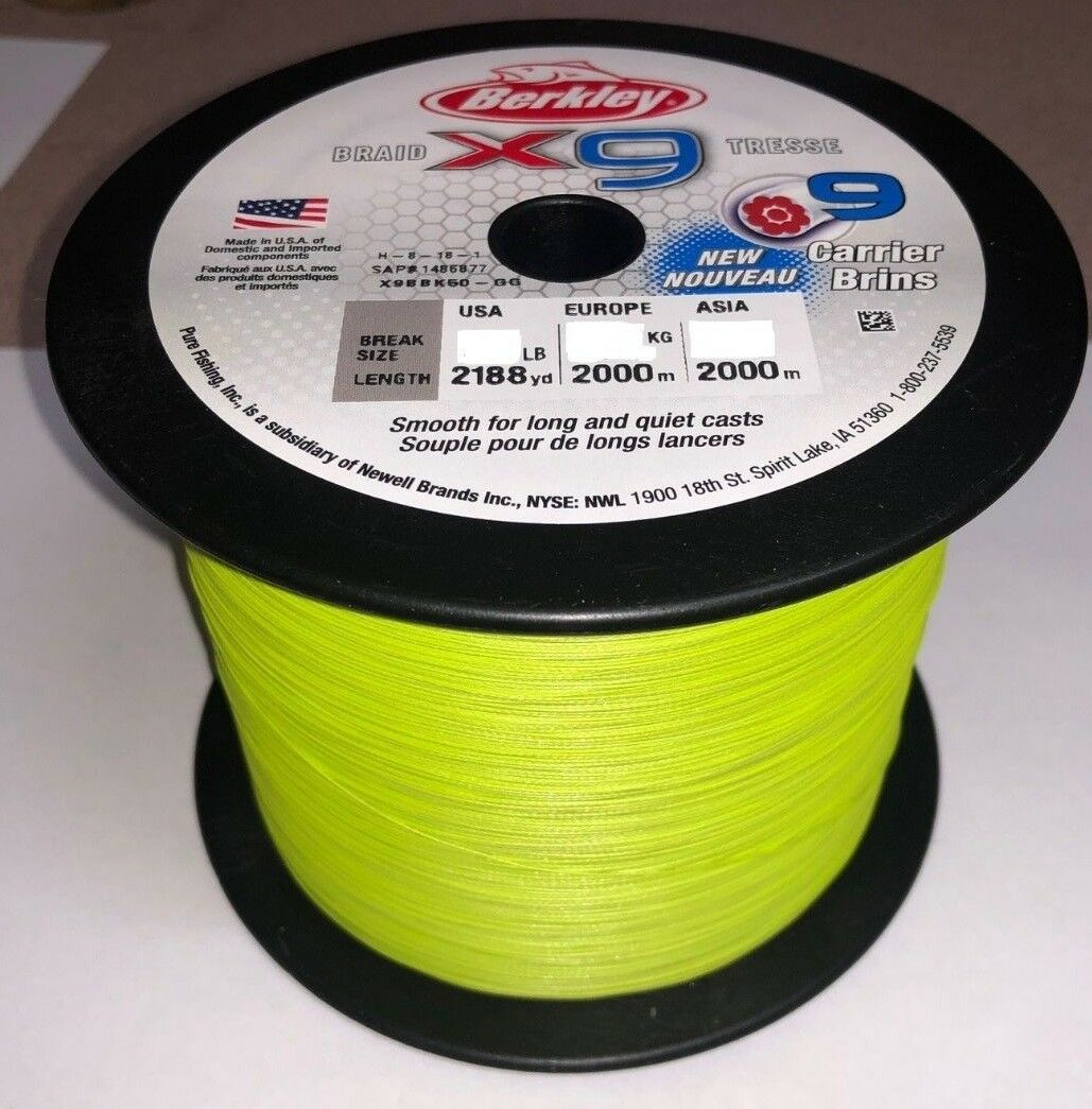 NEW 2018 Berkley X9 2000m Braid Bulk Spool Flame verde 80Lb  36.3kg 0.40mm