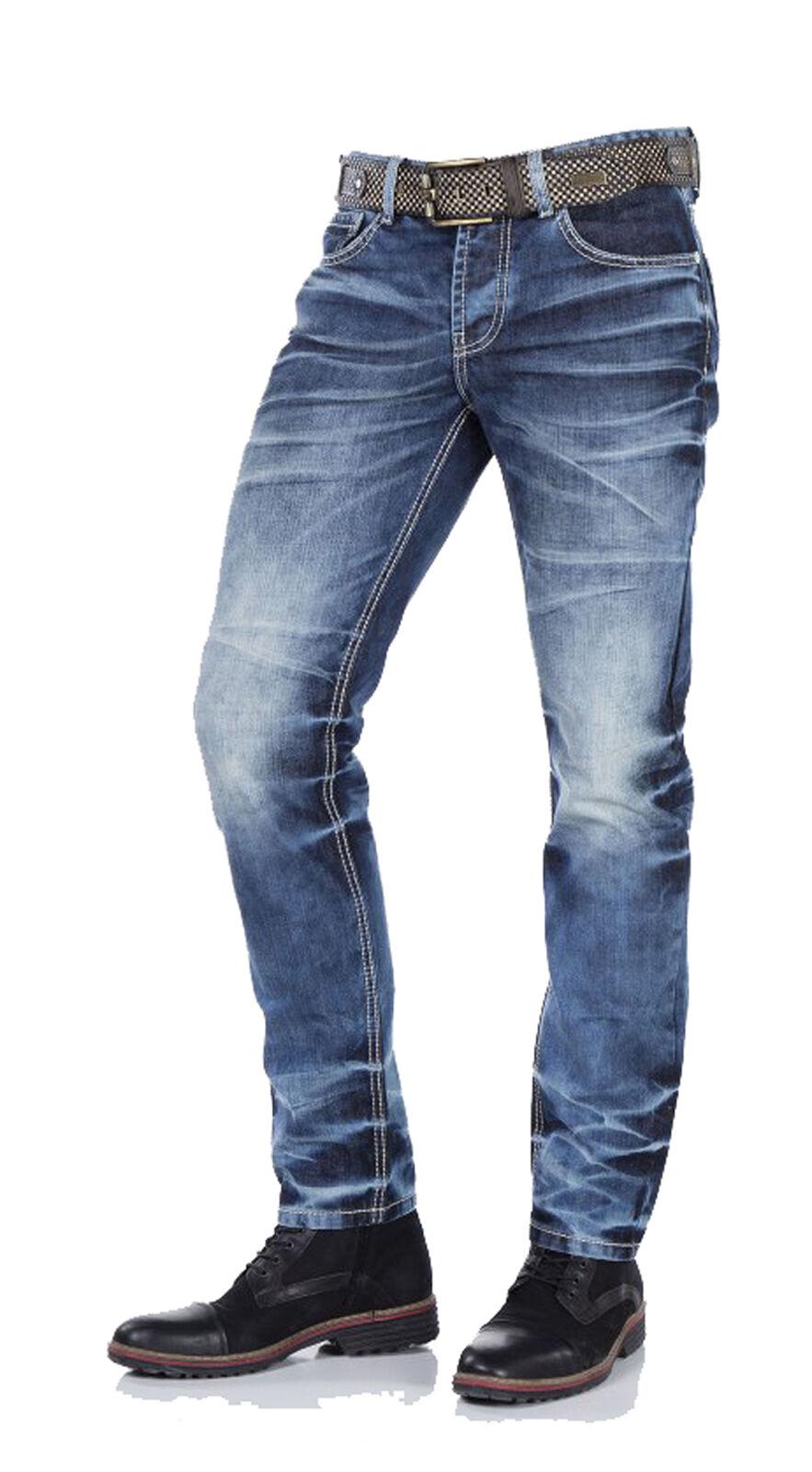 Cipo & Baxx Herren Jeans Regular Fit Fit Fit Style CD328 destroyed-used blau verwaschen 71762e