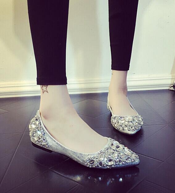 Para Mujer Cómodos Zapatos de Boda Nupcial En Punta Punta Punta Plana bombas antideslizante en mocasines de ballet  barato