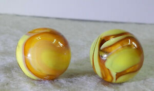 #11342m Pair of Champion Agate Furnace Marbles .60 Inches