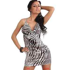 san francisco 1b9ab 29aa3 Dettagli su SEXY abito BIANCO/NERO vestito zebrato taglia S o M fashion  GLAMOUR !