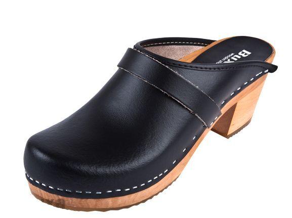 Women  Wooden  leather clogs  OS1   Black color US shoes Size