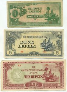 Birmanie-Burma-lot-1-5-10-ruppee-Japanese-occupation-extremly-fine-set-1944