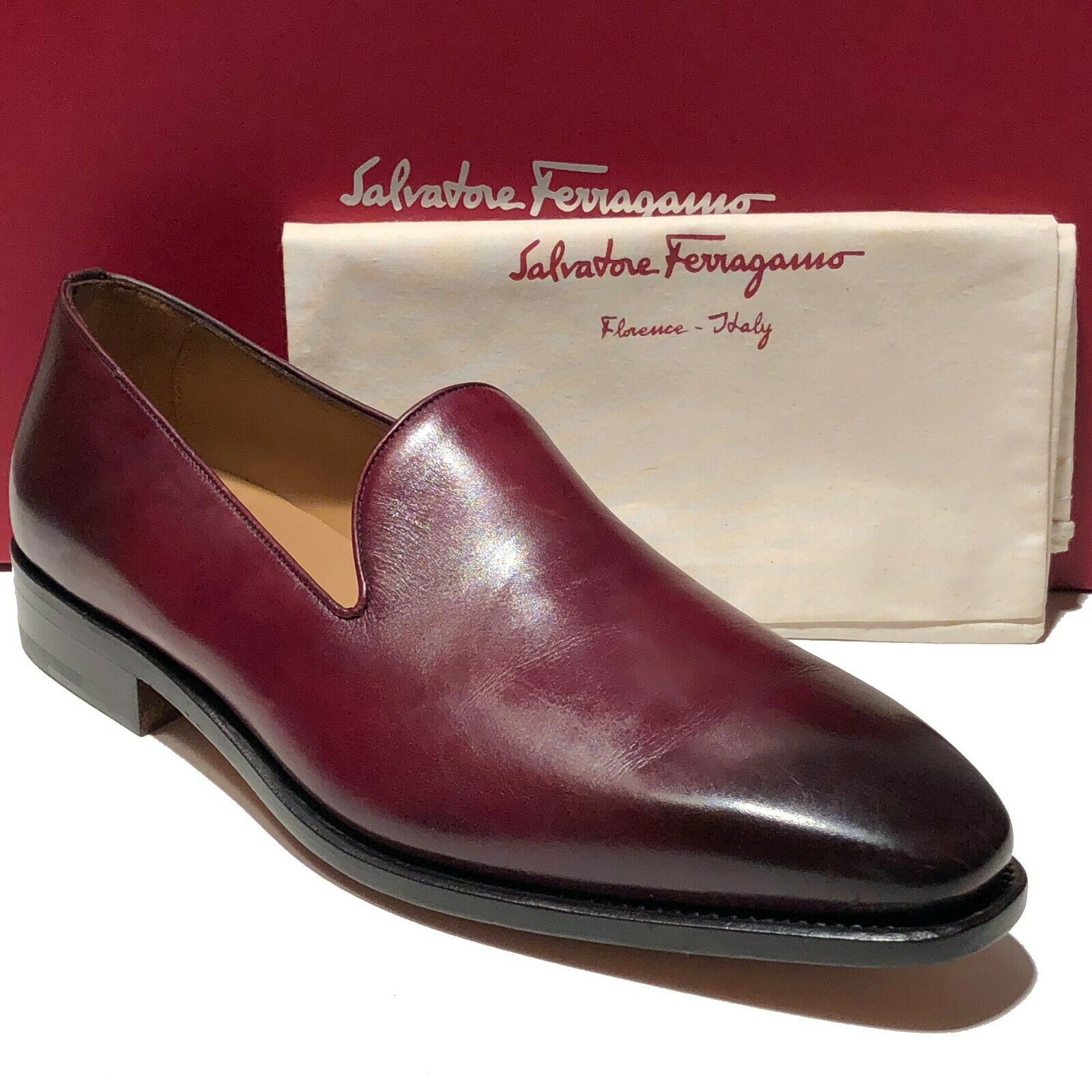 Ferragamo Tramezza new shoes Leather Loafers 8.5 Red Men's shoes Brown Casual