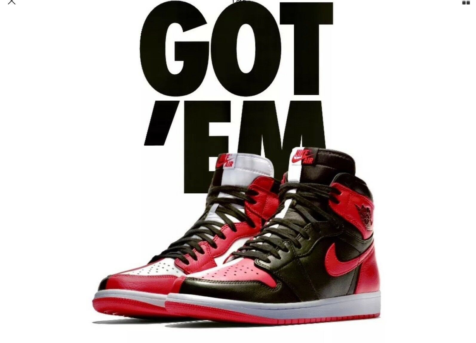 JORDAN RETRO 1 HIGH OG NRG HOMAGE TO HOME SIZE 10.5 NON NUMBERED 861428 061