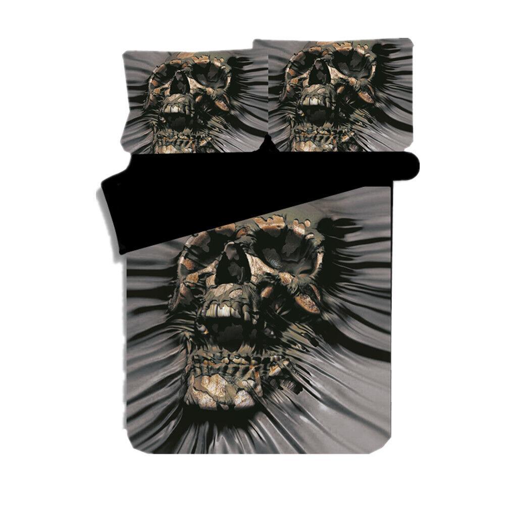 3D Skull Howling Duvet Cover Bedding Set Skeleton Quilt Cover Sets Pillow Cases