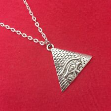 Beautiful Pyramid with Eye Of Horus Silver Charm Necklace. Egyptian Gift.
