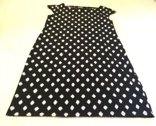 M CHICO/'S SIZE 1 *NEW BLACK WHITE DIAMOND ROUND NECK DOLMAN SLEEVE SHIFT  DRESS