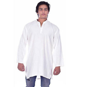 Indian-100-Pure-Cotton-Solid-Print-White-Color-Men-039-s-Kurta-Shirt-Plus-Size