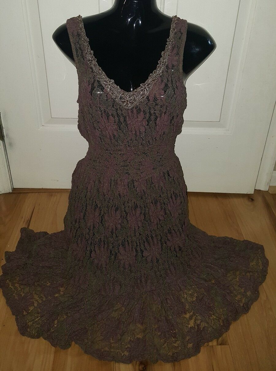 Free People Lace Dress Muted braun and lila Größe SMALL Perfect condition